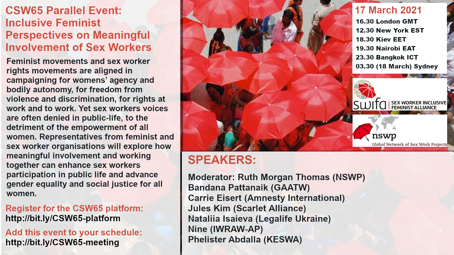 A flyer for the NSWP CSW65 event
