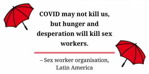 A quote saying that COVID may not kill sex workers, but hunger and desperation will.