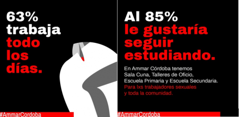 63% work every day. 85% would like to keep studying (At Ammar Córdoba we have day-care, skill-building workshops, and primary and secondary school for sex workers and the whole community)