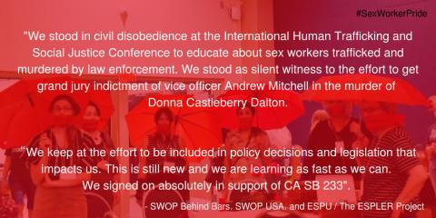 SWOP Behind Bars Sex Worker Pride